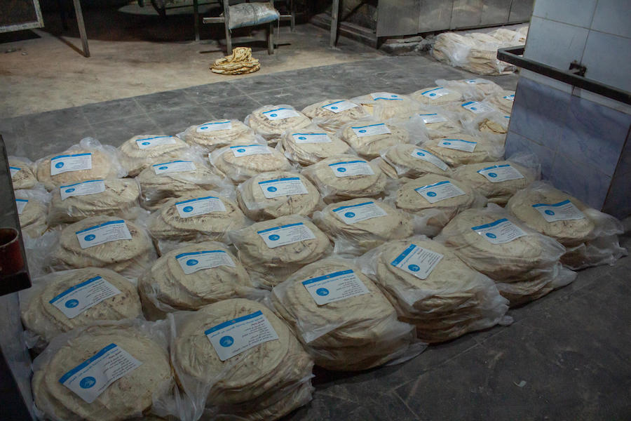 On 2 April 2020 in Aleppo, Syrian Arab Republic, bread bags labeled with UNICEF messages raising awareness on issues around the 2019 novel coronavirus.