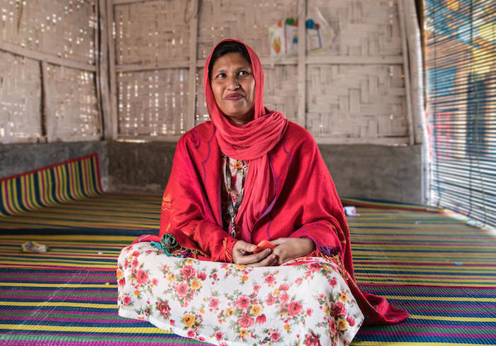 Shumi, the manager of a UNICEF Safe Space for Women and Girls in Cox's Bazar, Bangladesh, continues to support those at risk of gender-violence violence during the COVID-19 pandemic lockdown, even though her center is shuttered.