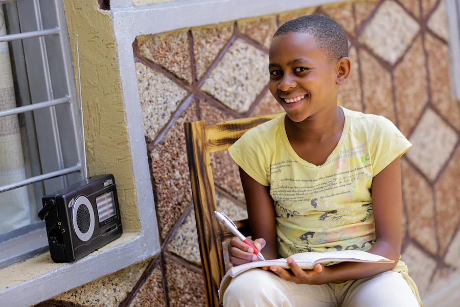 In Rwanda, when schools were closed due to COVID-19, students like Umuhoza, 11, could listen to lessons on the radio.