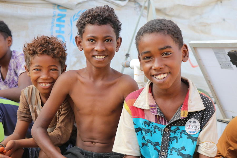 Forced out of their homes by violence, these children now live in Omar Bin Yasser camp for displaced persons in Aden, Yemen.