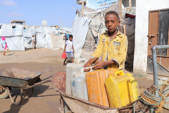Mohammed, 13, has been living parents and siblings in the Ammar Bin Yasser camp for displaced families in Aden, Yemen, since 2018.