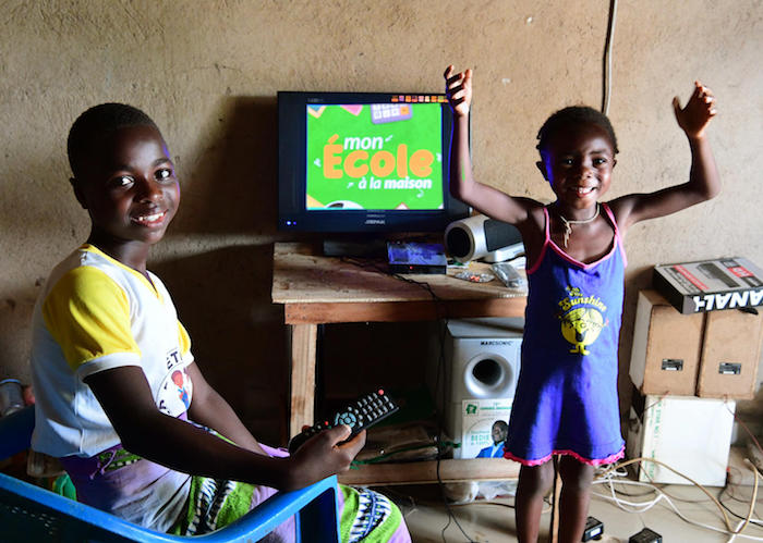 In Côte d'Ivoire, UNICEF has been working with the Ministry of Education on a 'school at home' initiative that includes taping lessons to be aired on national TV and radio.