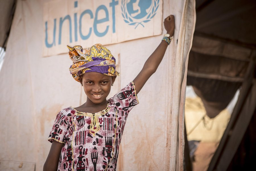 "Hamsatou Bolly, 13, a displaced girl from Mopti, fled her village in Bankass when it was attacked by armed men in 2019. ""I was terrified,"" she says. ""I thought I was going to get killed."" Today, she's healing at a UNICEF-supported Child-Friendly Space."