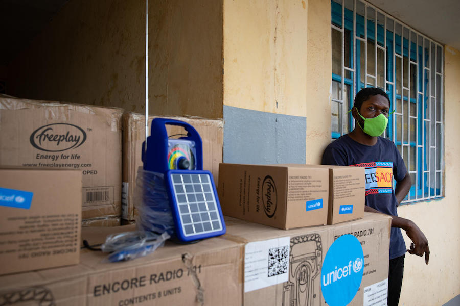 UNICEF provided exercise books and rechargeable portable radios so children in  Mbandaka, Democratic Republic of Congo could continue learning during the COVID-19 pandemic.