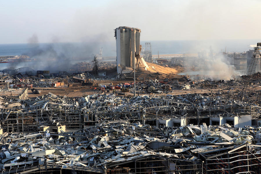 A view shows the aftermath of the August 5, 2020 blast at the port of Lebanon's capital. Beirut.