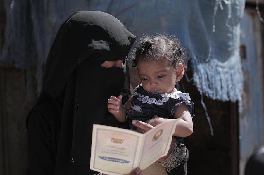 Souad holds her 9-month-old daughter, Nour, who was treated for acute malnutrition at a UNICEF-supported health center in Sana'a, Yemen.