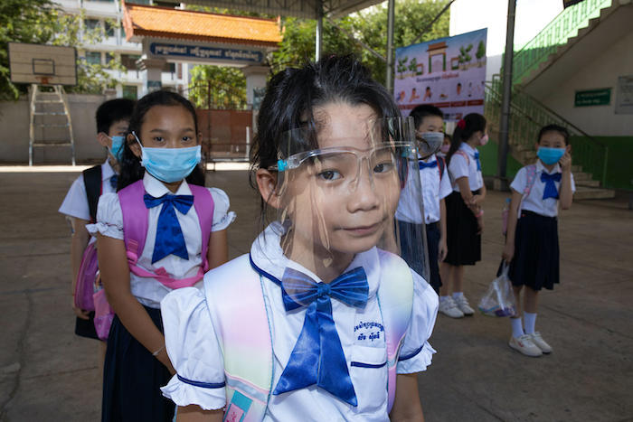 Students at Preah Norodom Primary School, Phnom Penh, Cambodia during their second day of school re-opening.