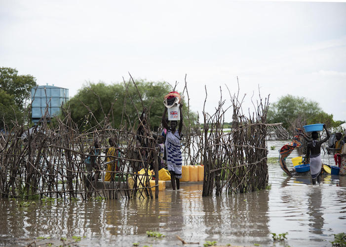 In September 2020, floodwaters swallowed up boreholes rehabilitated by UNICEF in Pibor, South Sudan. The water is not potable but can still be used to wash clothes.
