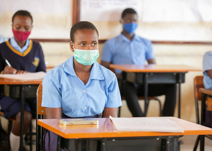 All students must wear masks and maintain proper social distancing at Mpamba Community Day Secondary School  in the northern lakeshore district of Nkhatabay, Malawi.