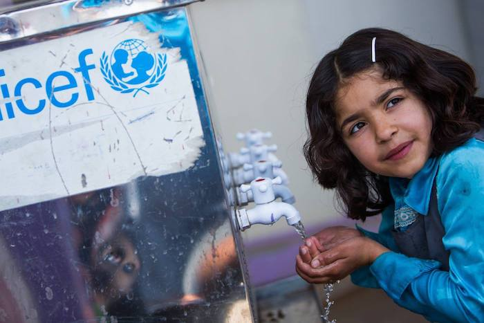 UNICEF has helped reconnect over 60 buildings to the public water system and installed 109 water tanks in damaged households.