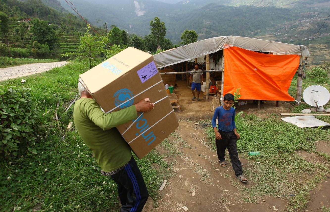 On 16 May 2015, UNICEF relief items are distributed in Chamawati village in Dolakha, epicenter of the 7.3 Richter scale earthquake that struck Nepal on 12 May. Nepal was first struck by a 7.8 Richter scale earthquake on 25 April.