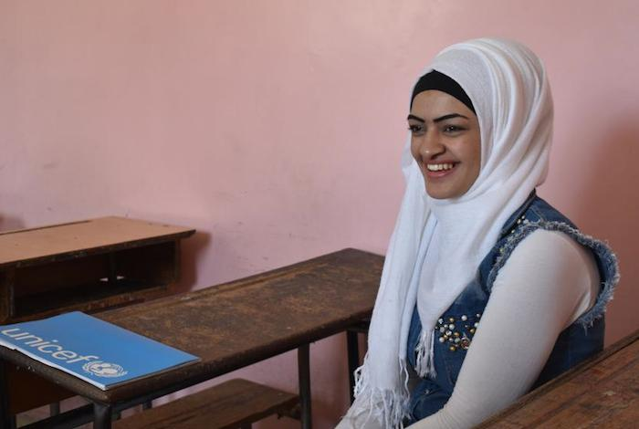 Kahadija is one of thousands of young Syrians that UNICEF has helped get back on track through a self-learning program that enables them to take national exams and eventually return to formal schooling.
