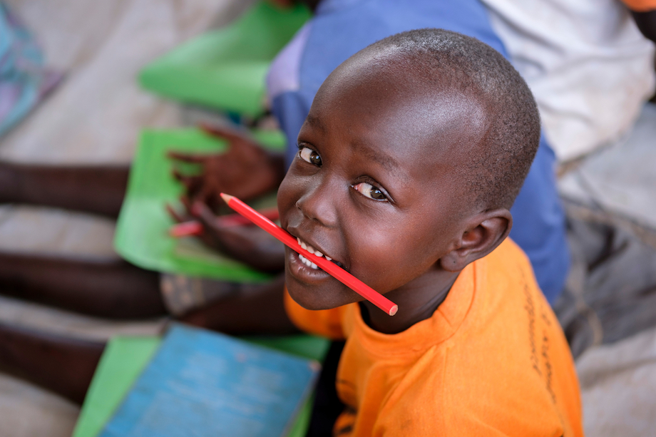 A South A Sudanese refugee participates in activities at a UNICEF Early Childhood Center in Bidibidi refugee settlement, northern Uganda.