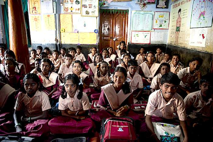 "Rescued child workers attend a UNICEF-supported ""bridging school"" in Tamil Nadu, India."