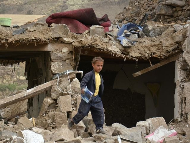 Children in Yemen have seen their homes, schools and neighborhoods, like this village near the the capital Sana'a, reduced to rubble.