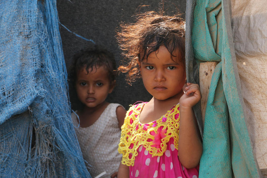 In March 2018 in Aden City, Yemen, children from Taiz are living in improvised shelters.