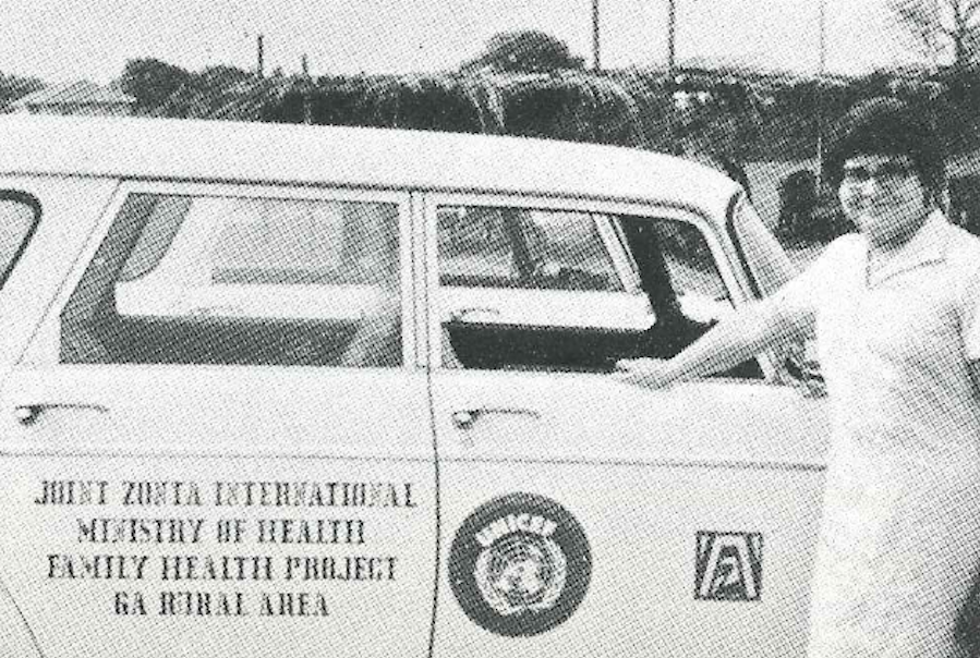 Zonta International's first project (1972 - 1974) supported through UNICEF USA provided mobile medical units to serve the health needs of children and mothers in rural areas of Ghana.