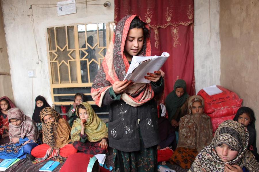 Wasilla, 12, is enrolled in a UNICEF-supported accelerated learning center in Kotal Morcha village, Kandahar province, Afghanistan.