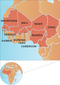 Map of the Sahel region in Africa