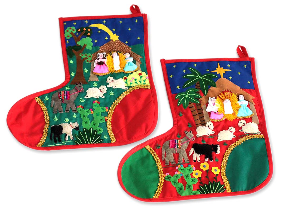 Folk Art Cotton Applique Christmas Stockings (Pair), 'Holy Night'