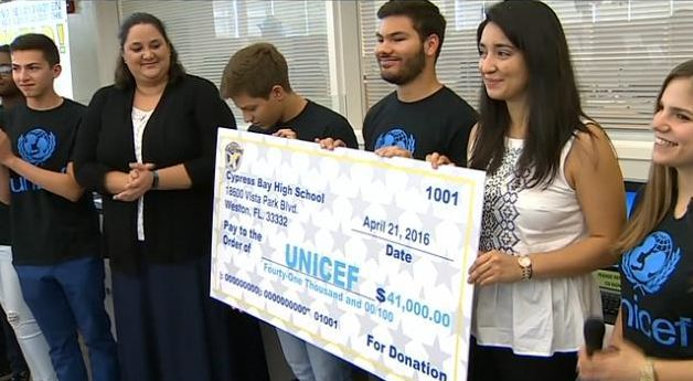 Cypress Bay High School's check presentation ceremony