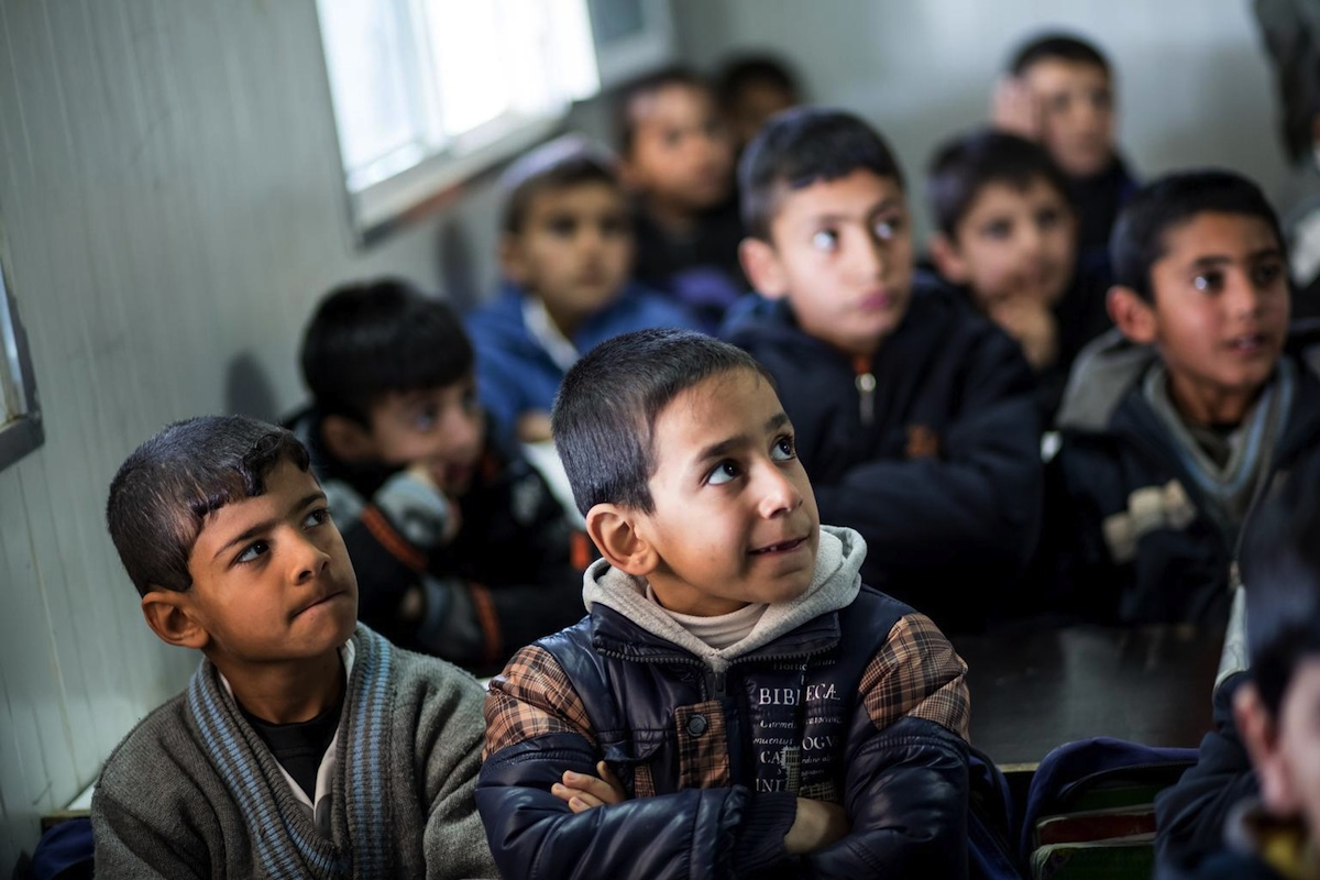 Children at a school in the Domiz refugee camp in northern Iraq.