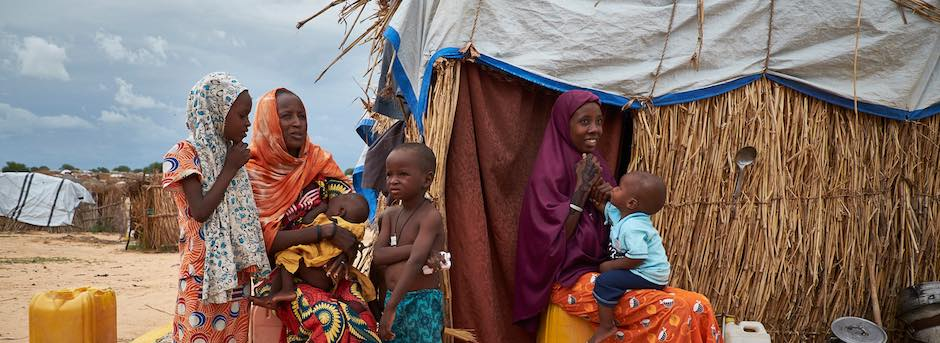 Women and children, refugees from Nigeria at a site of displaced civilians in Diffa, Niger