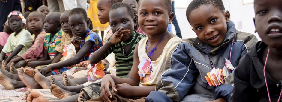 Children gather at a UNICEF-supported Child-Friendly Space at the Kakuma Refugee Camp in northwestern Kenya, one of the largest refugee camps in the world.