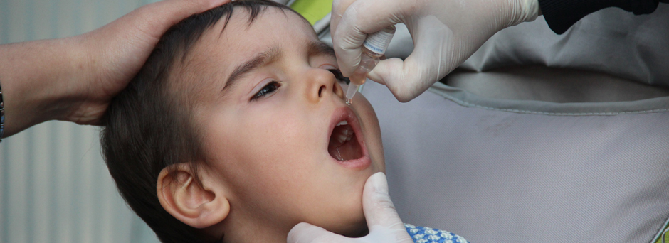 On 20 February 2014 in Turkey, a boy receives a dose of oral polio vaccine, in Osmaniye Province. Turkey