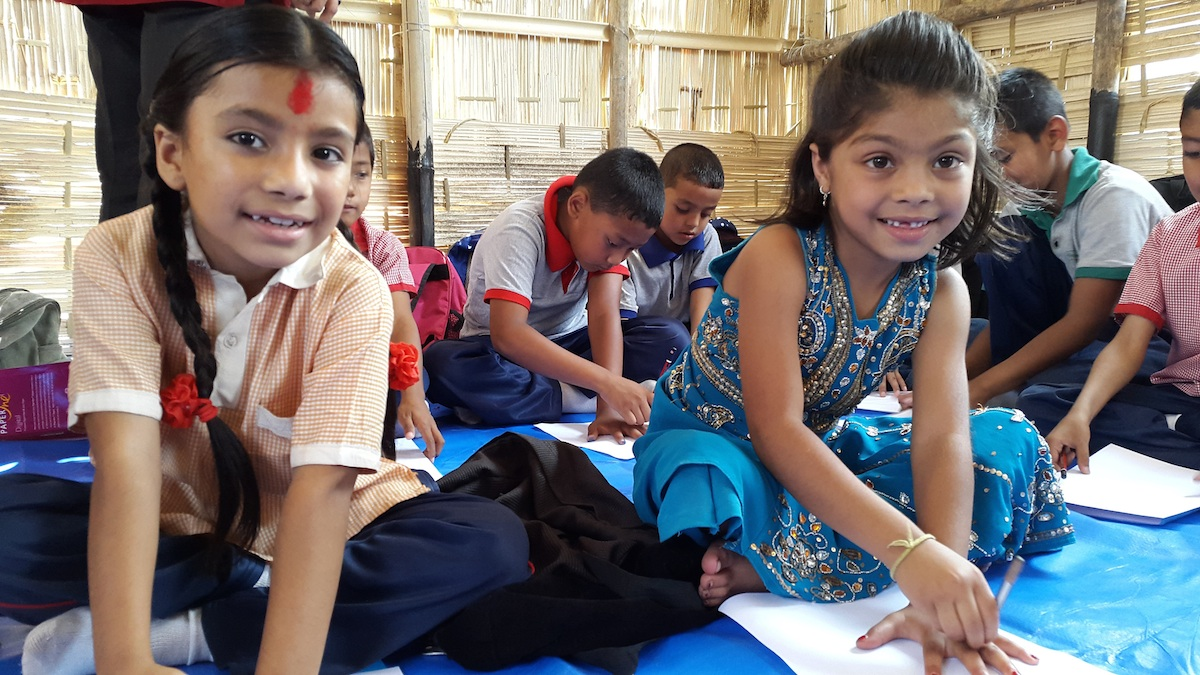 The children at the Kuleshwor School in Kathmandu are happy to be back in school.