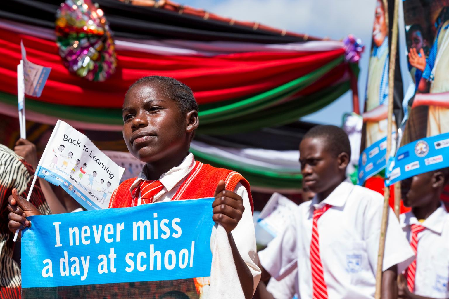 Schoolchildren at the launch of the UNICEF-supported Back to Learning campaign in Yambio County in Western Equatoria State. © UNICEF/NYHQ2015-1513/McIlwaine