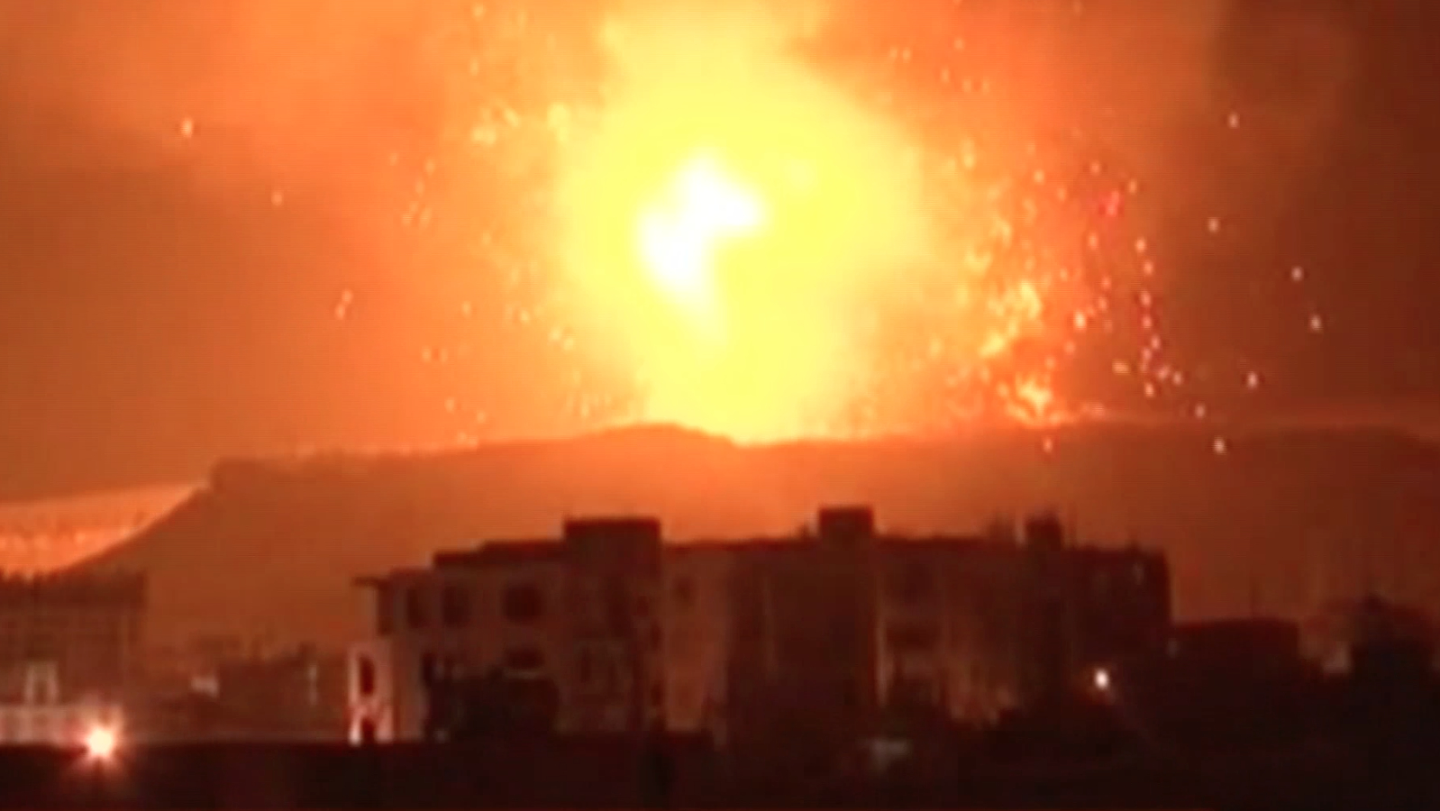 Airstrikes over the Yemen capital of Sana'a.