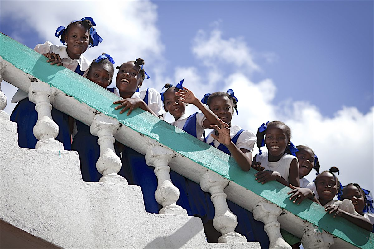 Haiti students at a school in Les Cayes, once of the most vulnerable areas of Haiti as Hurricane Matthew approaches