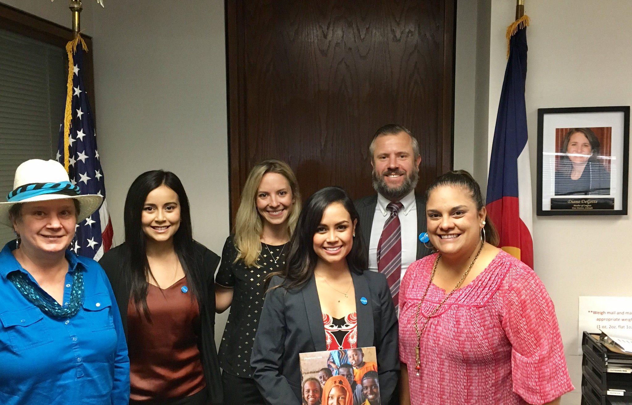 Denver CAT Members (left to right) Sara Marsden, Andrea Colmenero, Kristen Norton, Alejandra Colmenero, and Greg Collins meeting with Senior Congressional Aide to Rep. Diana DeGette, Stephanie Davila-Syner