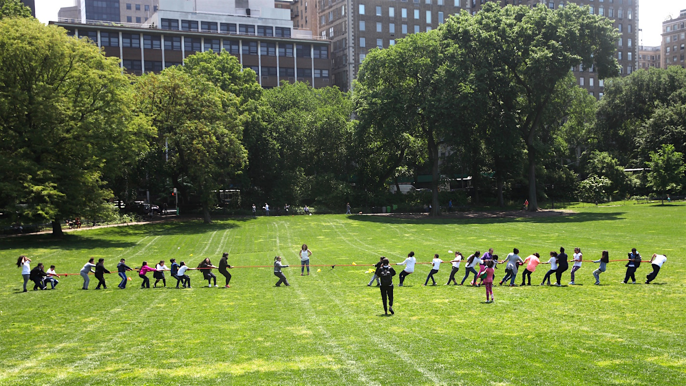 Lexington Academy students show off their UNICEF Kid Power during the school's Field Day in Central Park's East Meadow.