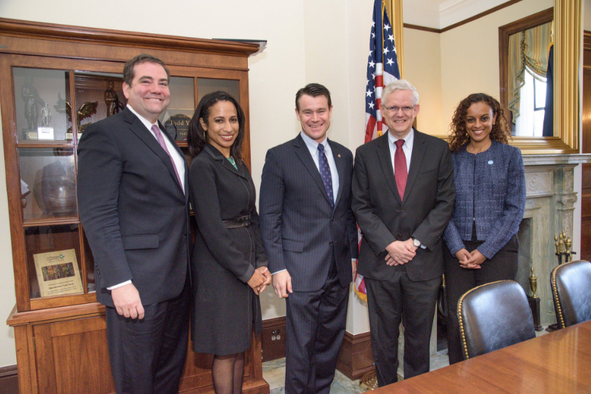 Semhar Araia (far right) meets with Sen. Todd Young (R-IN) (middle) to underscore the importance of diasporas