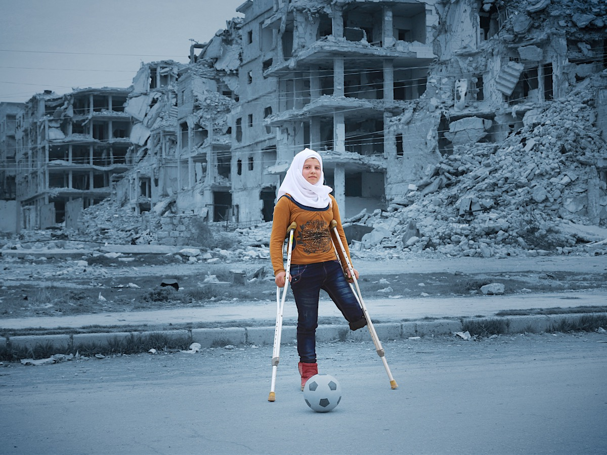 "Injured during a bomb attack in Syria's civil war, Saja dreams of one day taking part in the Special Olympics. She practices doing aerial flips every day in her tiny apartment. ""I love playing football. When I play football, I don't feel like I've lost an"