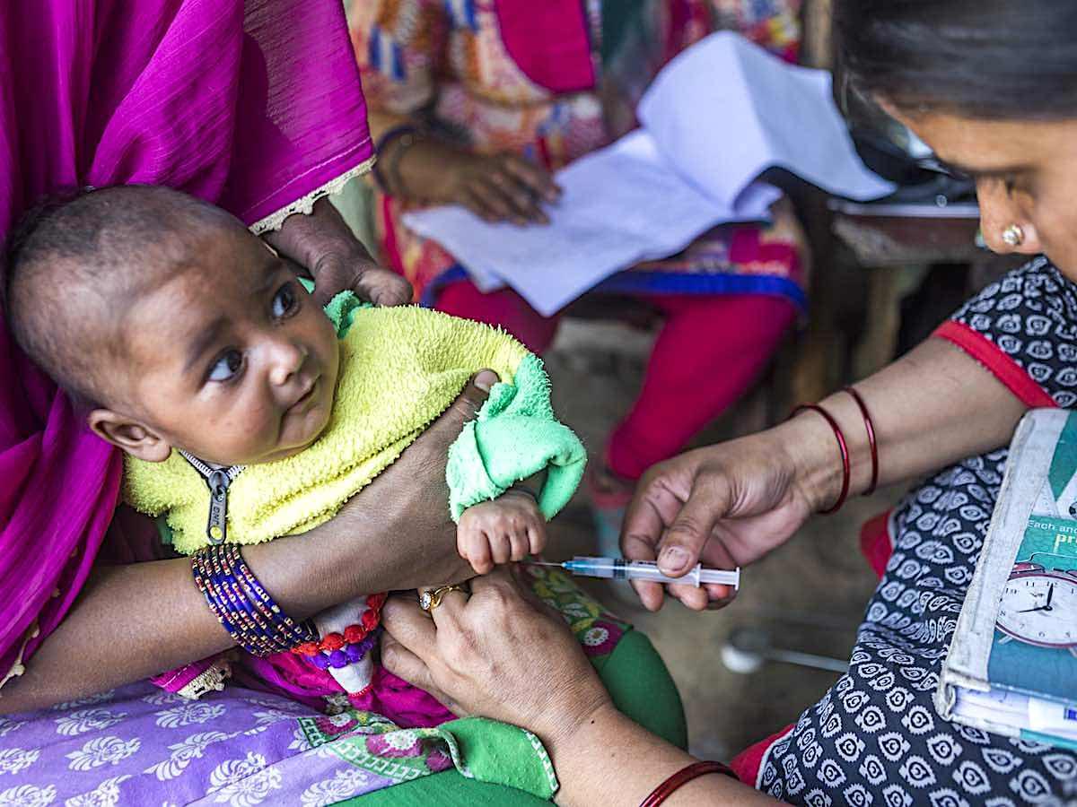 A baby gets vaccinated in Vijaynagar Ghaziabad, India.