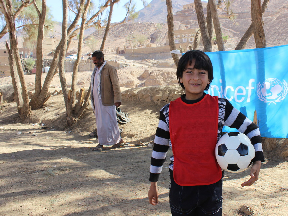 unicef, unicef usa, yemen, soccer, football, refugee children