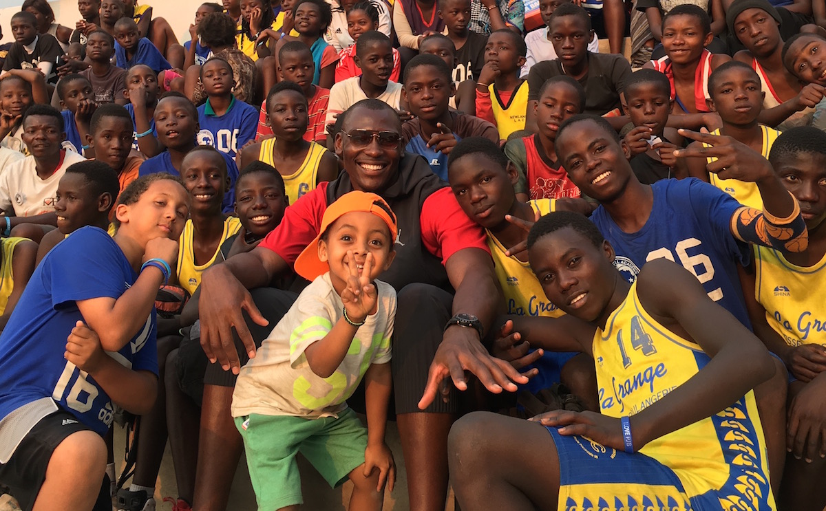 Pro basketball player and UNICEF Supporter Bismack Biyombo back home in the Democratic Republic of Congo.