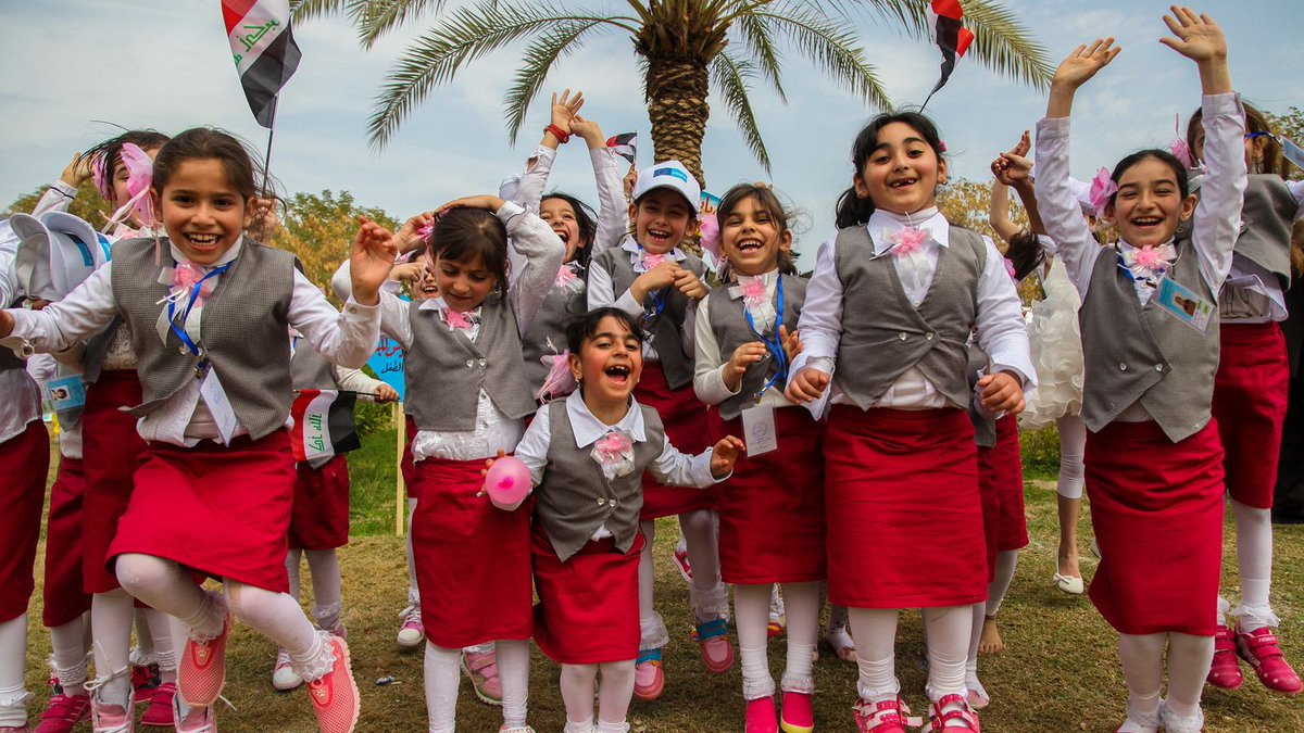 Children attend the opening of a festival celebrating child-friendly schools in Iraq.