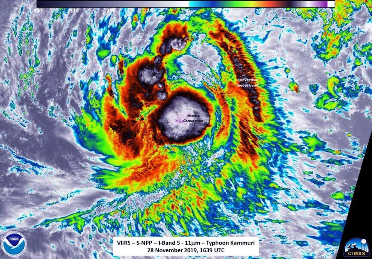 NASA-NOAA image of Typhoon Kammuri nearing the Philippines on November 28, 2019