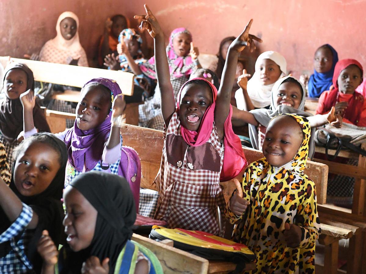 Students attending class in an Islamic school in Biankouma, a village in the west of Côte d'Ivoire.