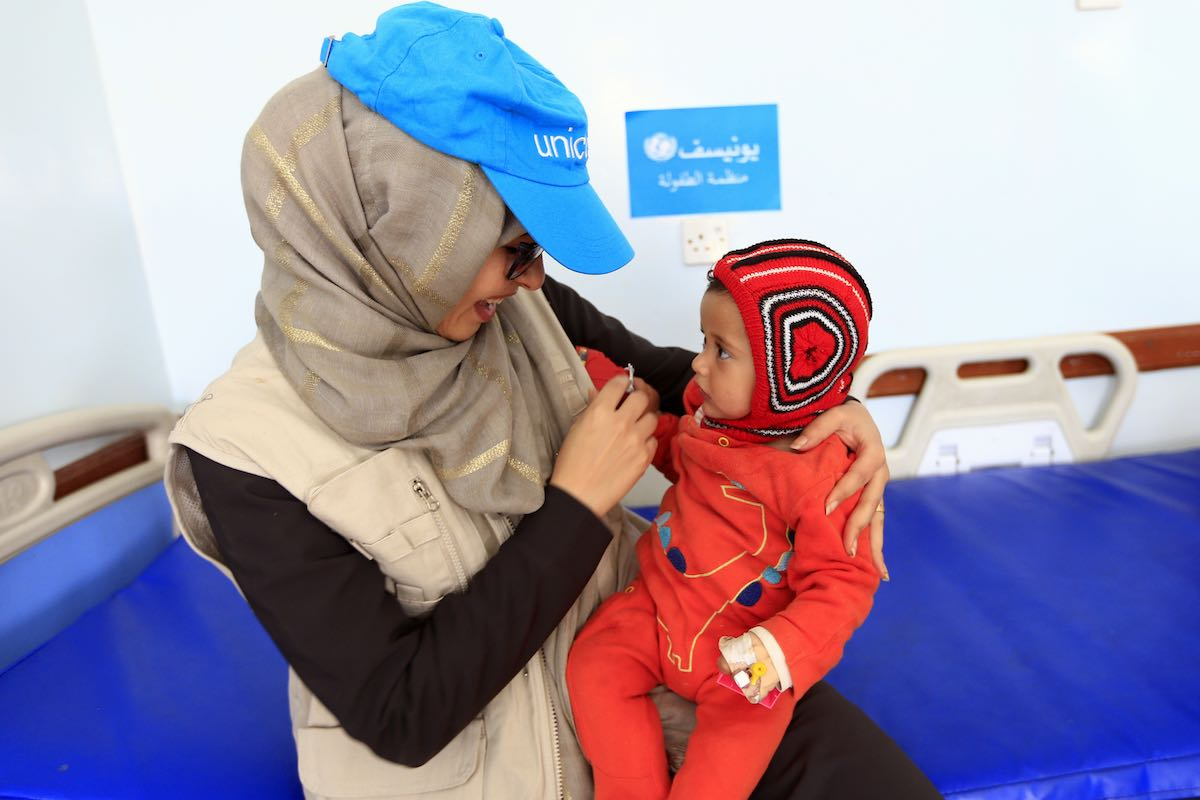 """A Yemeni child, 8 months, at the child care center in the hospital of """"22 May"""" in the area of Thulaa Hamdan on the outskirts of the capital Sanaa"""