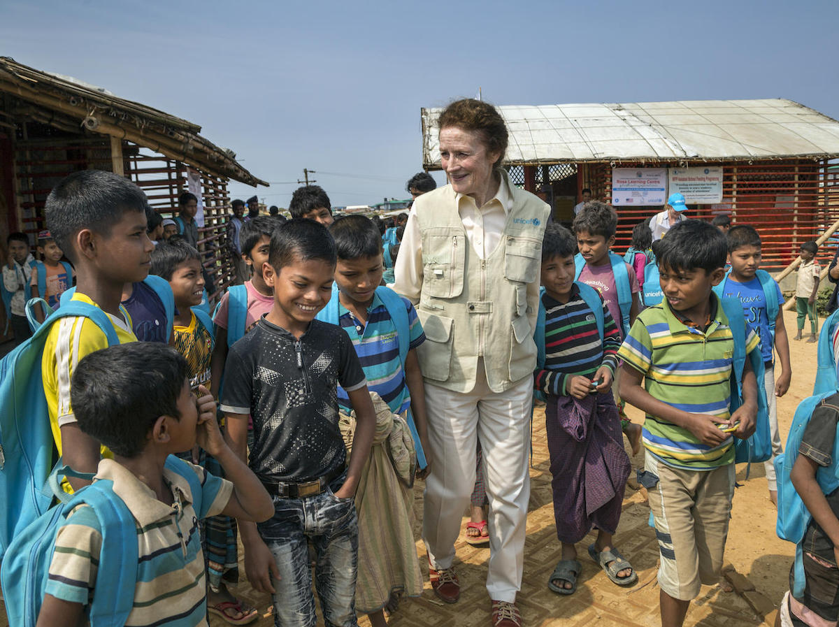 On February 25, 2019 in Bangladesh, UNICEF Executive Director Henrietta Fore joined a group of Rohingya children outside a learning center in the Kutupalong-Balukhali refugee camp in the Cox's Bazar district.