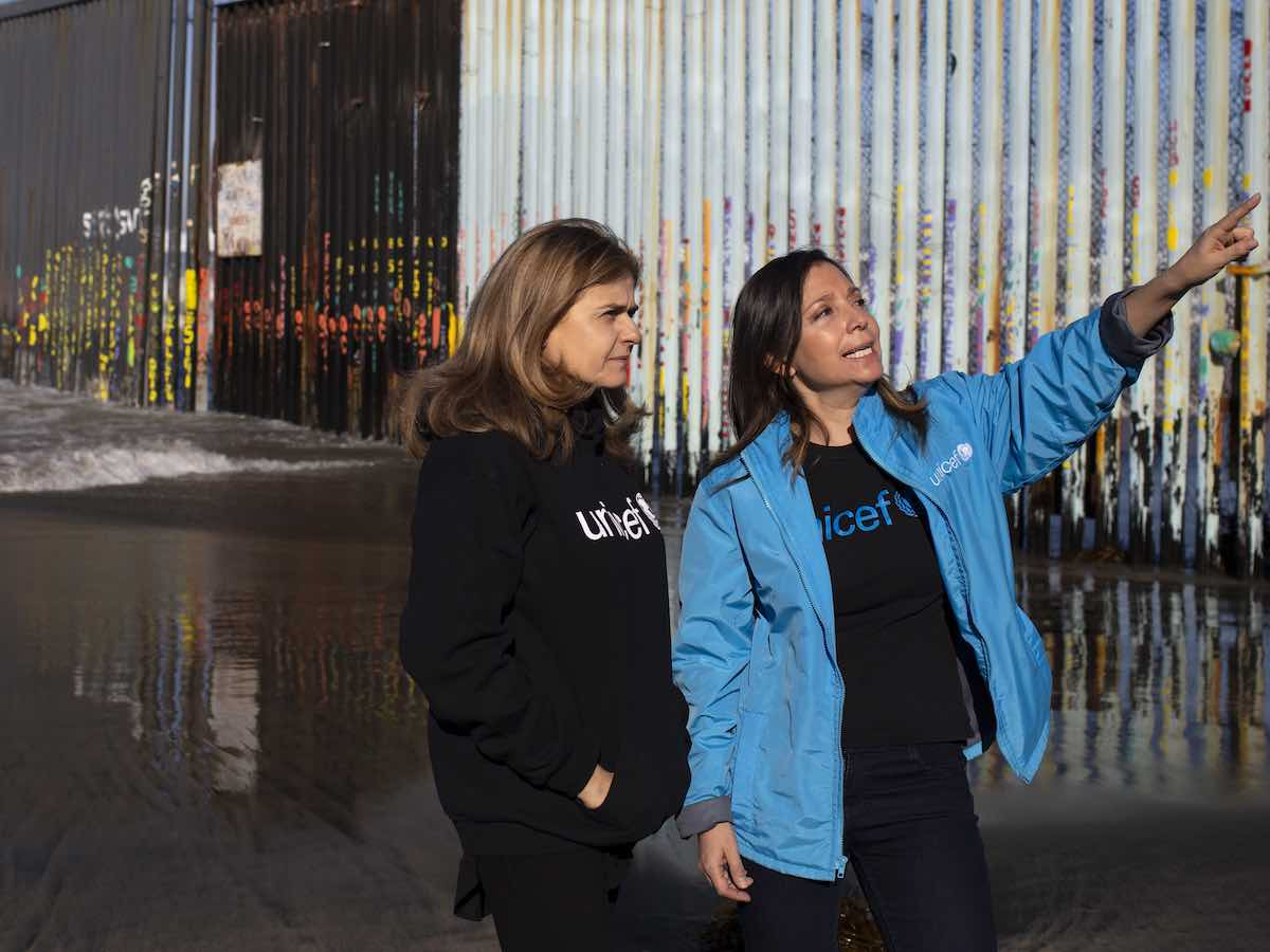 Paloma Escudero, UNICEF Director of Communication visits the border wall with Karla Gallo, UNICEF Mexico Child Protection Officer in Tijuana, Mexico on February 22, 2019.