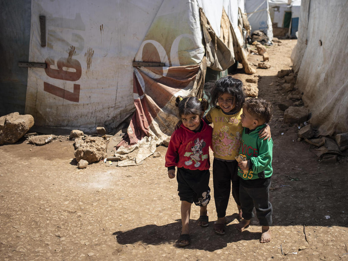 Syrian refugee children are pictured in an informal settlement near Terbol in the Bekaa Valley, Lebanon.