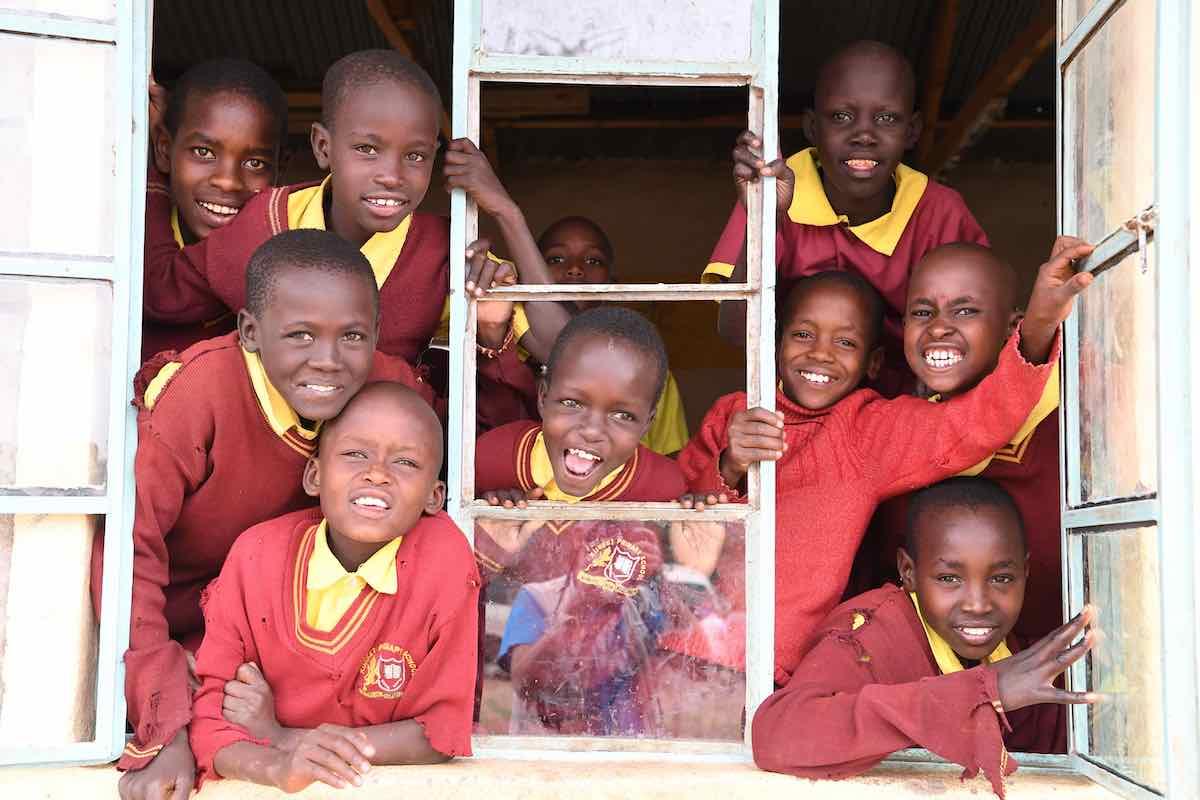 Happy students in a school in the Maasai community in the Kajiado County, in Kenya.