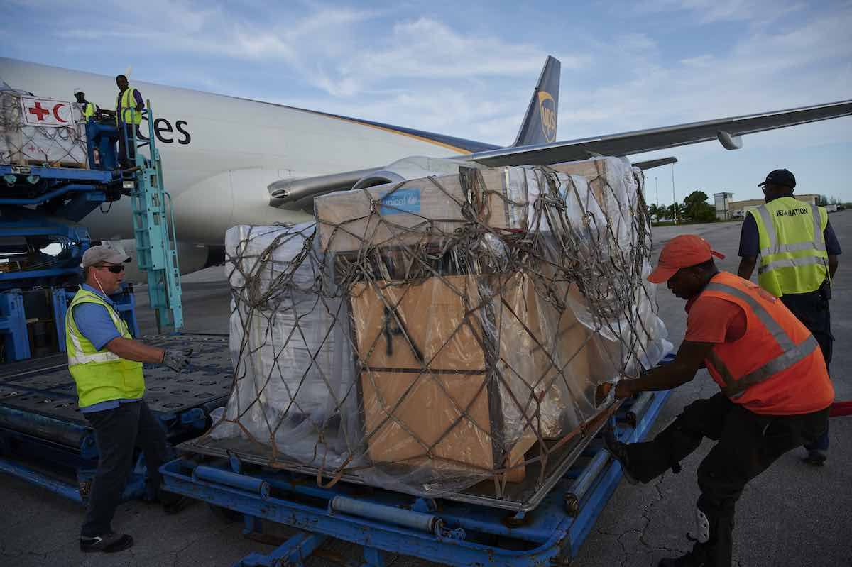 The first shipment of UNICEF Emergency Supply arrives at the Nassau International Airport, along with IRC supplies, via UPS aircraft. The Bahamas. © UNICEF/UN0341905/Noorani