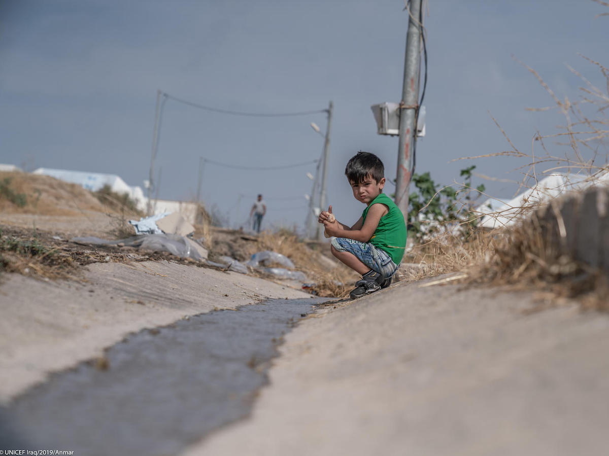 On October 21, 2019, 6-year-old Ahmed, who comes from Hassakeh in northeastern Syria, plays in the Barderash camp in Akre, Iraq.